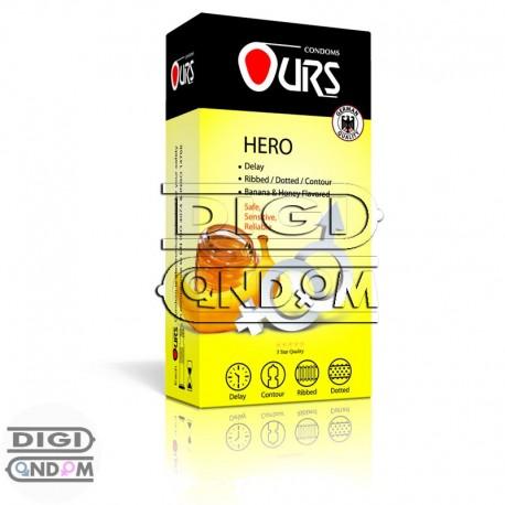 کاندوم-اورس-12-تایی-تاخیری-خاردار-شیاردار-با-اسانس-موز-و-عسل--OURS-HERO---دیجی-کاندوم