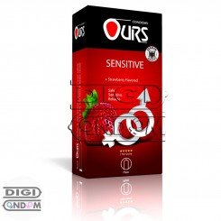 کاندوم اورز 12 تایی بسیار نازک حساس با اسانس توت فرنگی OURS SENSITIVE