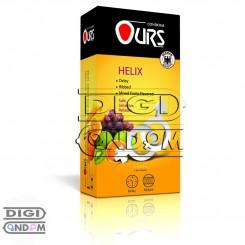 کاندوم اورز 12 تایی تاخیری حلقوی میوهای OURS HELIX