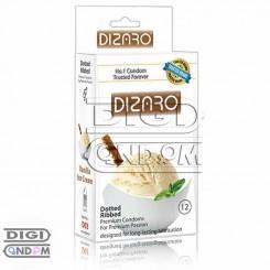 کاندوم دیزارو 12 تایی خاردار و شیاردار با اسانس بستنی وانیلی DIZARO Vanila Ice Cream