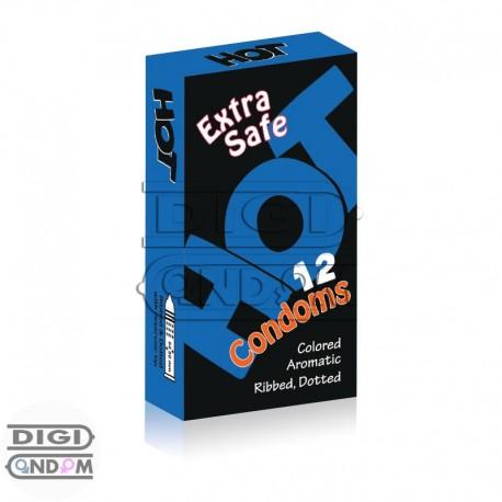 خرید-کاندوم-هات-12-تایی-فوق-ایمن-خاردار-شیاردار-رنگی-HOT-Extra-Safe-Colored-Dotted-Ribbed-از-دیجی-کاندوم