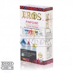 خرید کاندوم اروس 12 تایی پین پوینت خاردار، شیار دار با سر رنگی میوه ای EROS PINPOINT Colored Flavored از دیجی کاندوم
