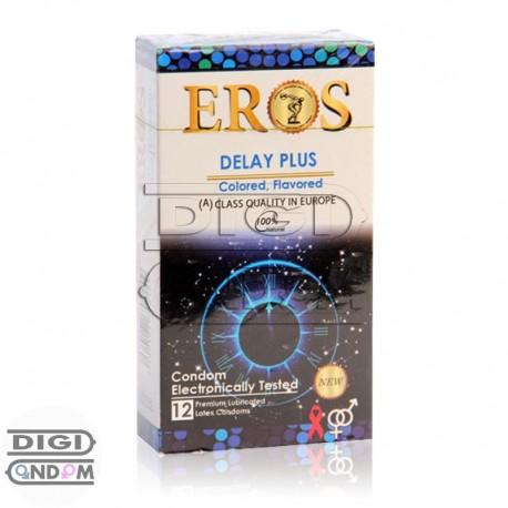 خرید کاندوم اروس 12 تایی تاخیری مضاعف رنگی میوه ای EROS DELAY PLUS Colored Flavored از دیجی کاندوم