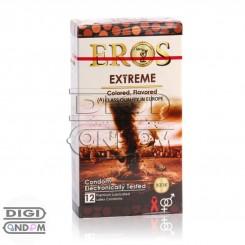 کاندوم اروس 12 تایی اکستریم رنگی با اسانس قهوه EROS EXTREME Colored Flavored
