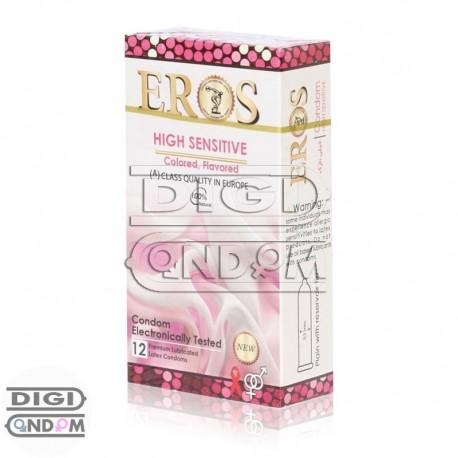 خرید کاندوم اروس 12 تایی فوق حساس رنگی میوه ای EROS HIGH SENSITIVE Colored Flavored از دیجی کاندوم